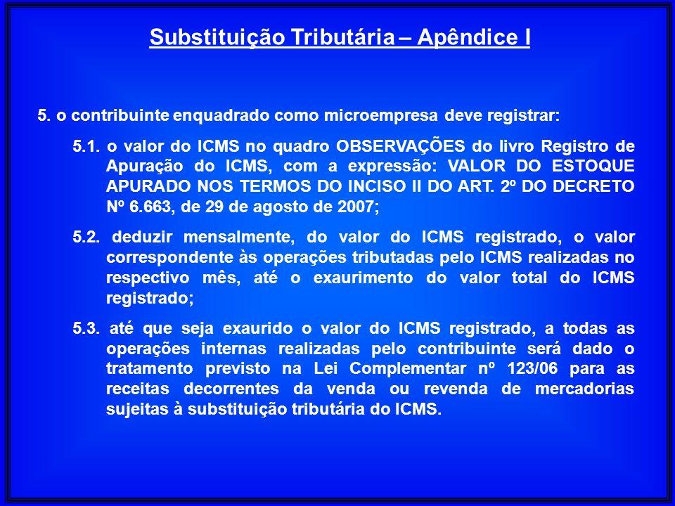 Substituição Tributária – Apêndice I