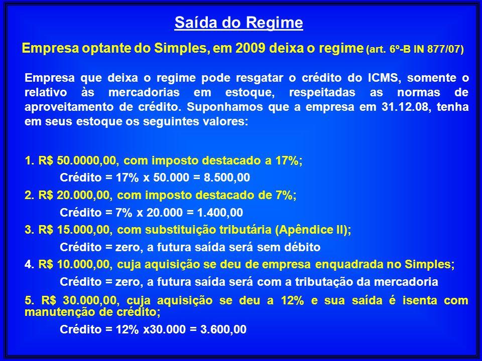 Saída do RegimeEmpresa optante do Simples, em 2009 deixa o regime (art. 6º-B IN 877/07)