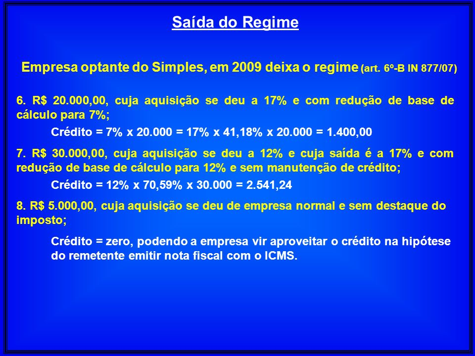 Saída do Regime Empresa optante do Simples, em 2009 deixa o regime (art. 6º-B IN 877/07)