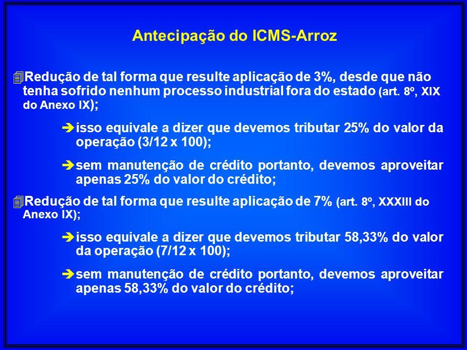 Antecipação do ICMS-Arroz