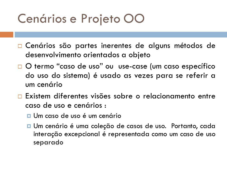 Cenários e Projeto OOCenários são partes inerentes de alguns métodos de desenvolvimento orientados a objeto.