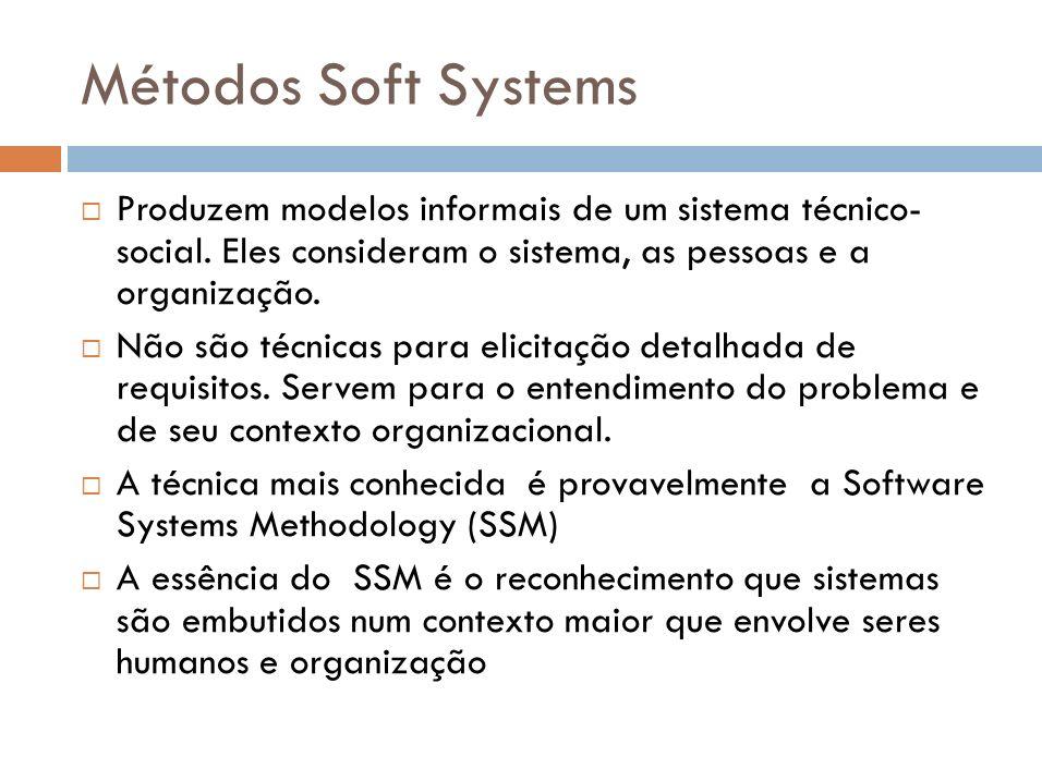 Métodos Soft SystemsProduzem modelos informais de um sistema técnico- social. Eles consideram o sistema, as pessoas e a organização.