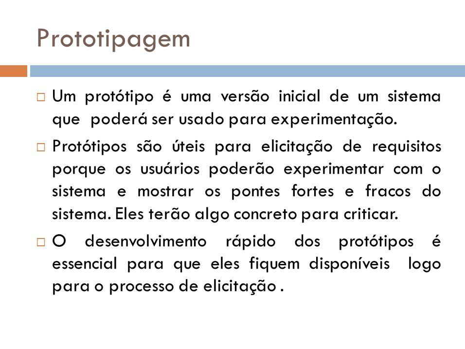 Prototipagem Um protótipo é uma versão inicial de um sistema que poderá ser usado para experimentação.