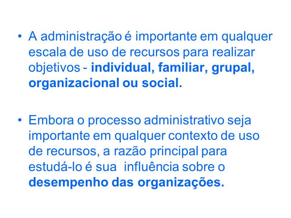A administração é importante em qualquer escala de uso de recursos para realizar objetivos - individual, familiar, grupal, organizacional ou social.