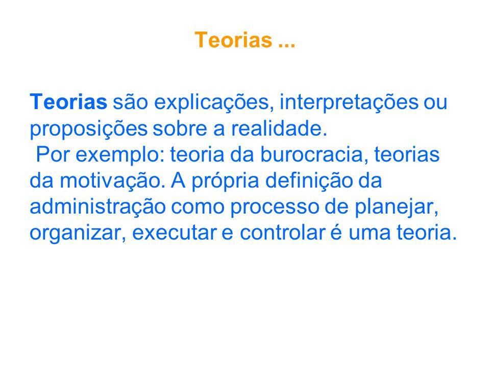 Teorias ... Teorias são explicações, interpretações ou. proposições sobre a realidade. Por exemplo: teoria da burocracia, teorias.