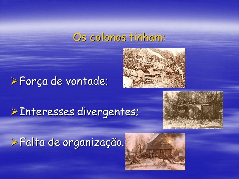 Os colonos tinham: Força de vontade; Interesses divergentes; Falta de organização.