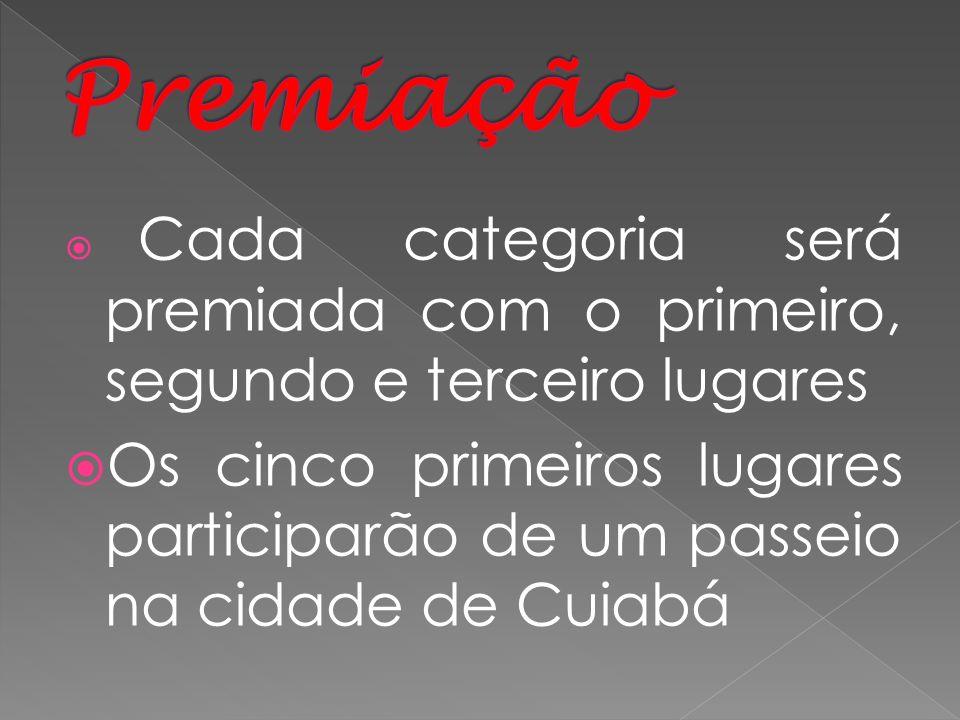 PremiaçãoCada categoria será premiada com o primeiro, segundo e terceiro lugares.