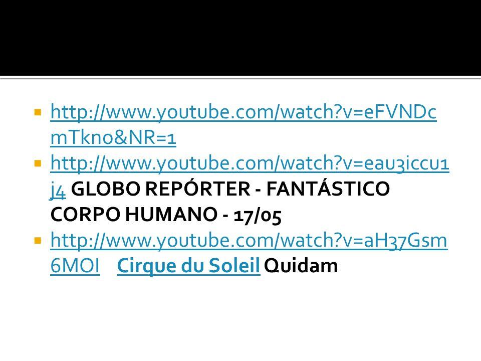 http://www.youtube.com/watch v=eFVNDcmTkno&NR=1 http://www.youtube.com/watch v=eau3iccu1j4 GLOBO REPÓRTER - FANTÁSTICO CORPO HUMANO - 17/05.