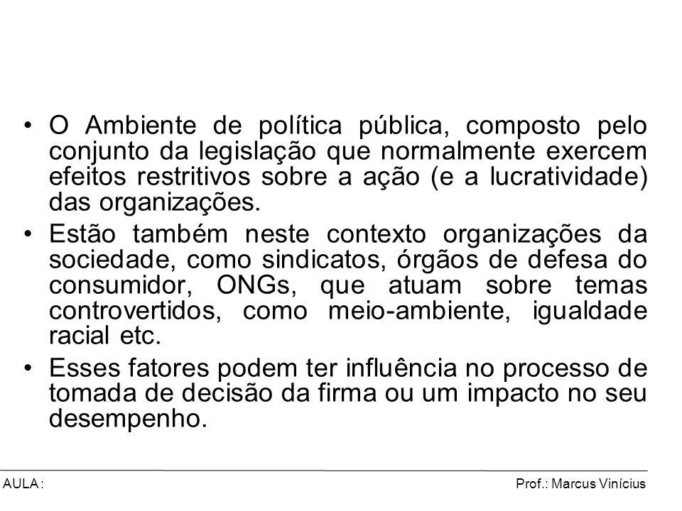O Ambiente de política pública, composto pelo conjunto da legislação que normalmente exercem efeitos restritivos sobre a ação (e a lucratividade) das organizações.