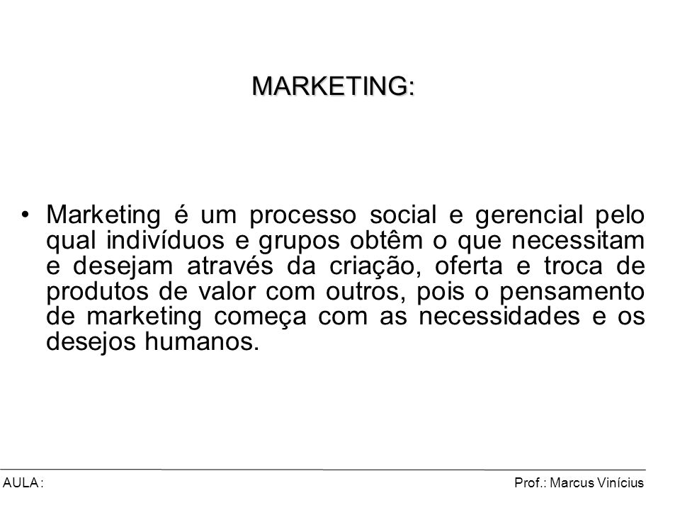 MARKETING: