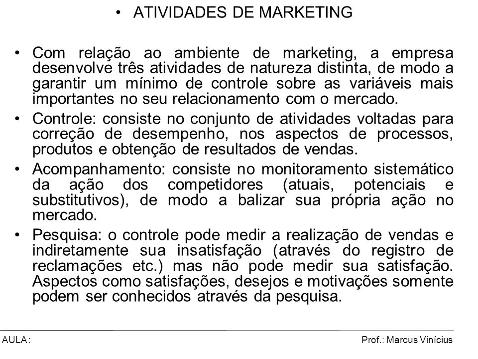 ATIVIDADES DE MARKETING