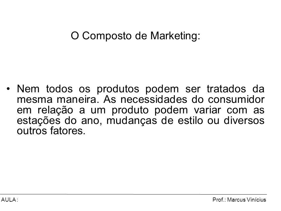 O Composto de Marketing: