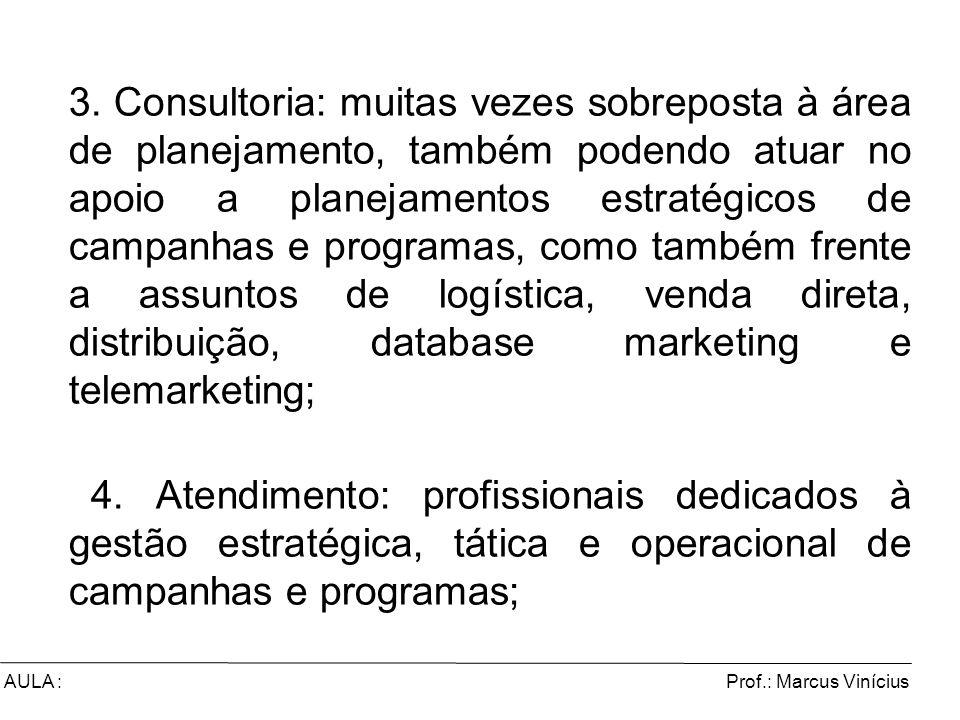 3. Consultoria: muitas vezes sobreposta à área de planejamento, também podendo atuar no apoio a planejamentos estratégicos de campanhas e programas, como também frente a assuntos de logística, venda direta, distribuição, database marketing e telemarketing;