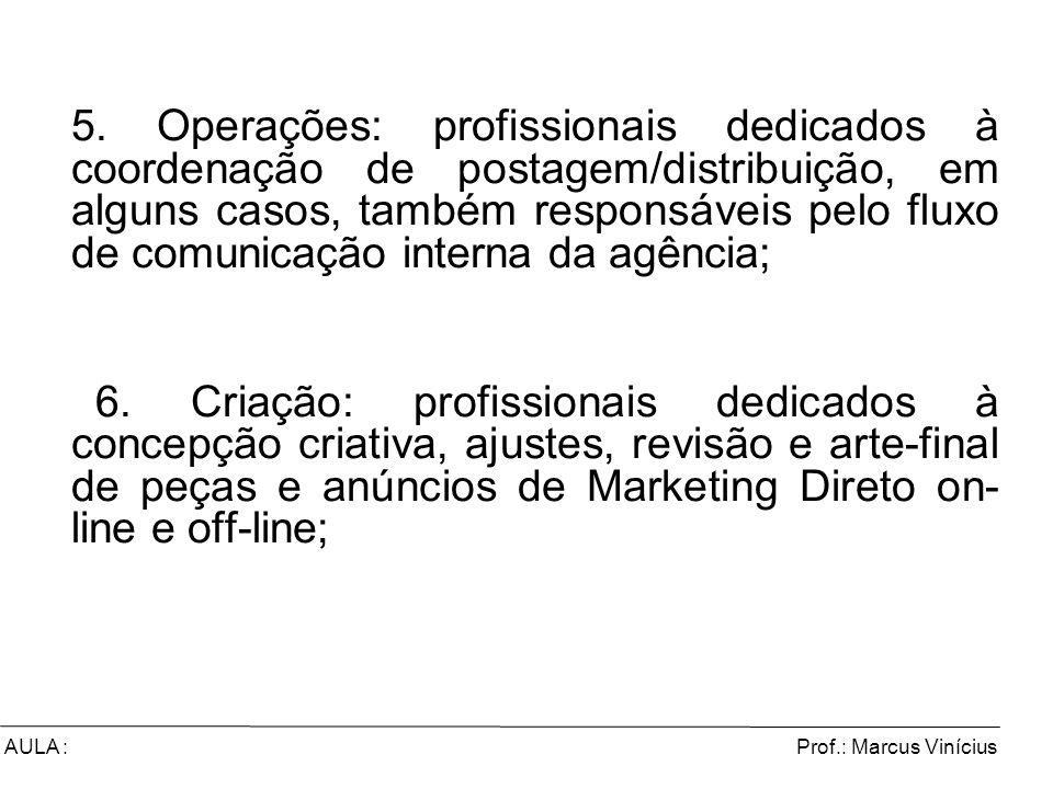5. Operações: profissionais dedicados à coordenação de postagem/distribuição, em alguns casos, também responsáveis pelo fluxo de comunicação interna da agência;