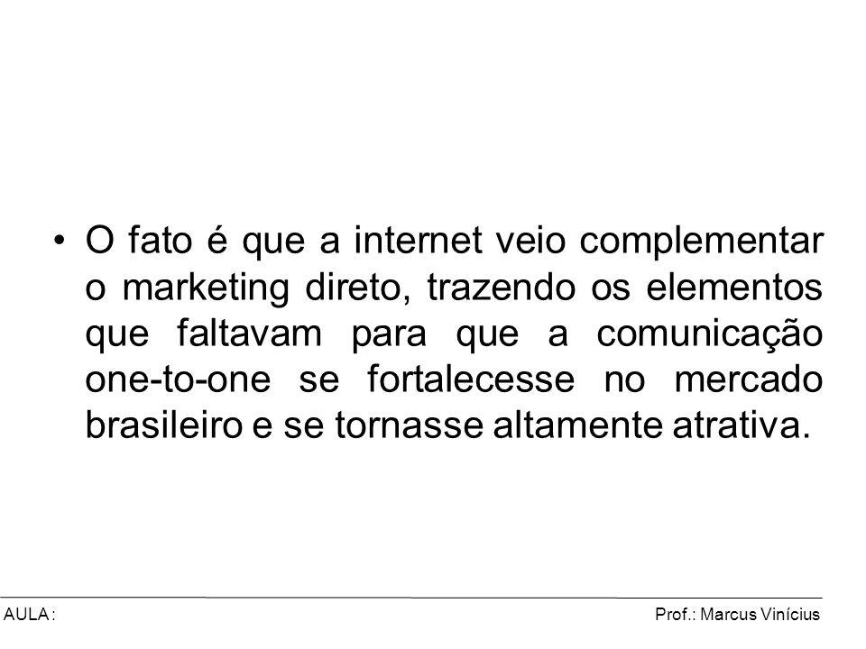 O fato é que a internet veio complementar o marketing direto, trazendo os elementos que faltavam para que a comunicação one-to-one se fortalecesse no mercado brasileiro e se tornasse altamente atrativa.