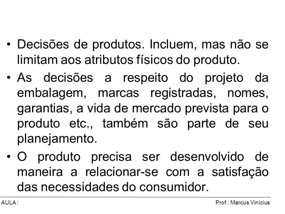 Decisões de produtos. Incluem, mas não se limitam aos atributos físicos do produto.
