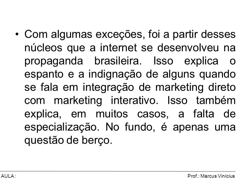 Com algumas exceções, foi a partir desses núcleos que a internet se desenvolveu na propaganda brasileira. Isso explica o espanto e a indignação de alguns quando se fala em integração de marketing direto com marketing interativo. Isso também explica, em muitos casos, a falta de especialização. No fundo, é apenas uma questão de berço.