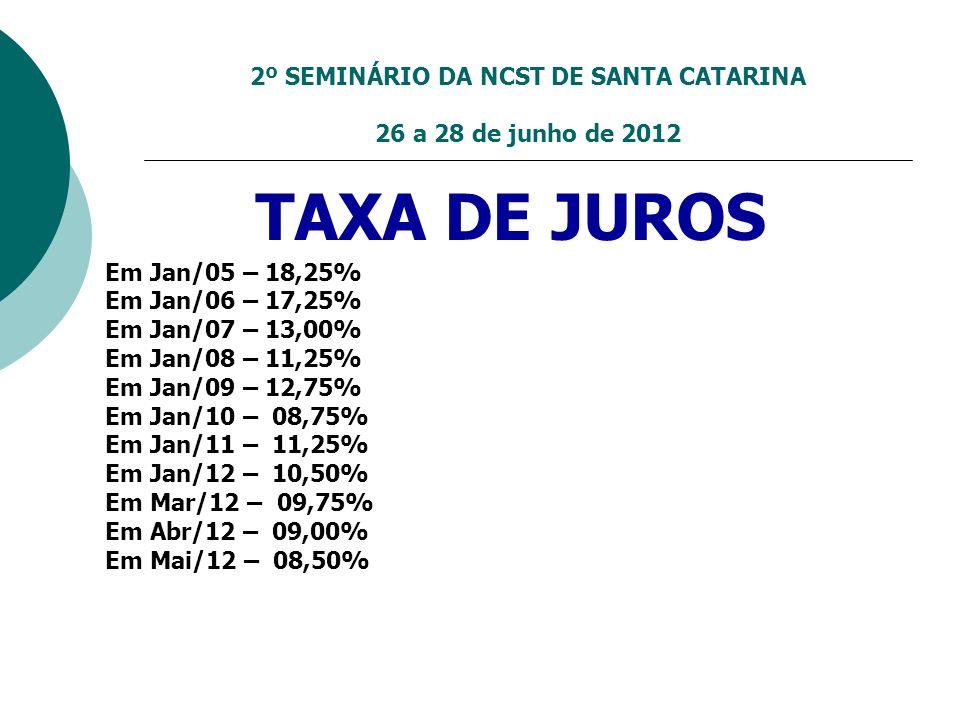2º SEMINÁRIO DA NCST DE SANTA CATARINA 26 a 28 de junho de 2012