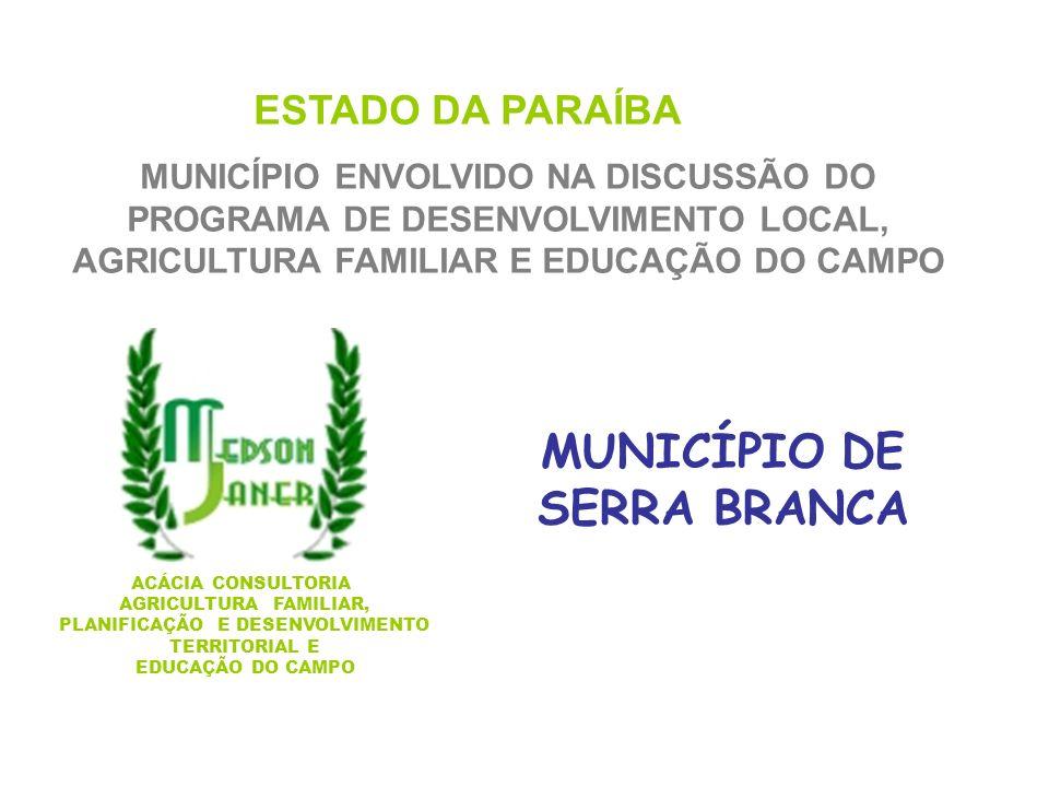MUNICÍPIO DE SERRA BRANCA PLANIFICAÇÃO E DESENVOLVIMENTO