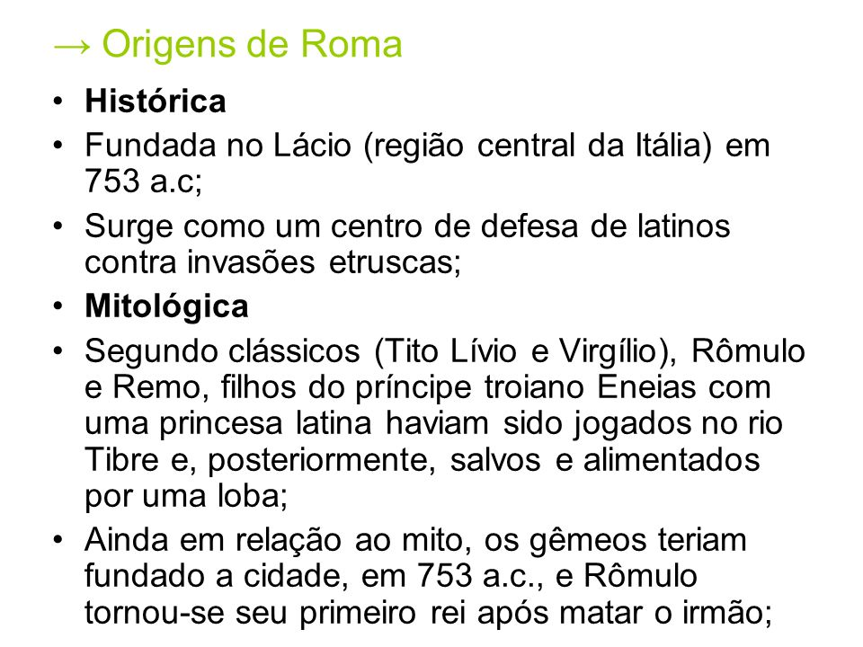 → Origens de Roma Histórica