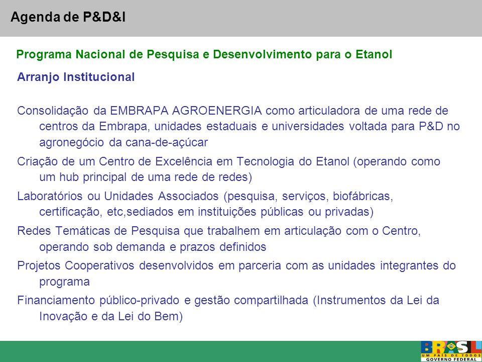 Agenda de P&D&I Programa Nacional de Pesquisa e Desenvolvimento para o Etanol. Arranjo Institucional.