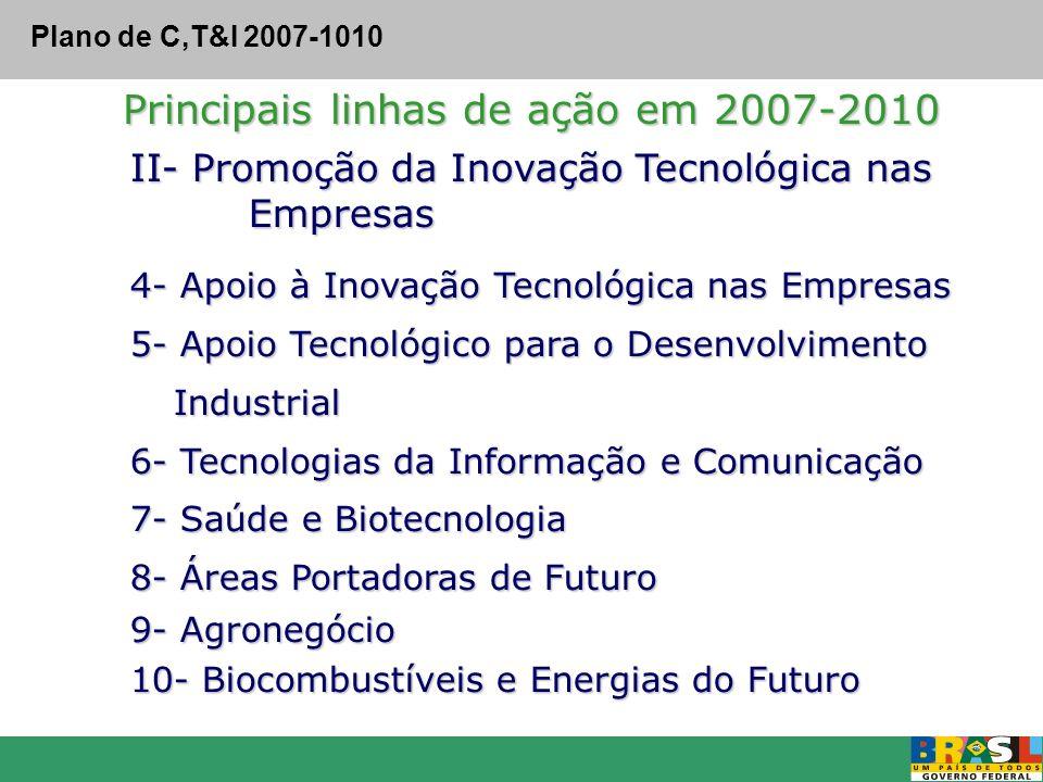 Principais linhas de ação em 2007-2010