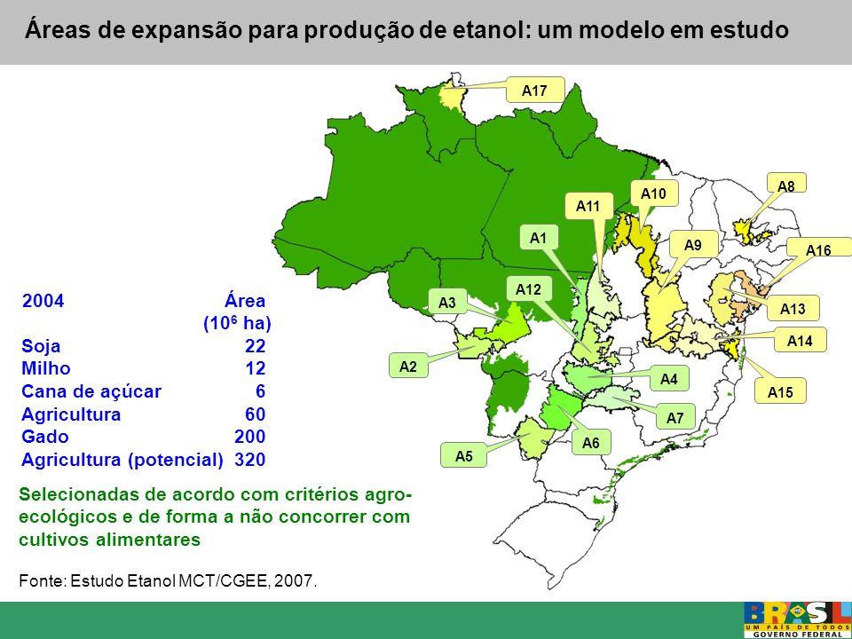 Áreas de expansão para produção de etanol: um modelo em estudo