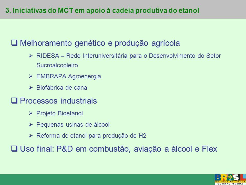 3. Iniciativas do MCT em apoio à cadeia produtiva do etanol