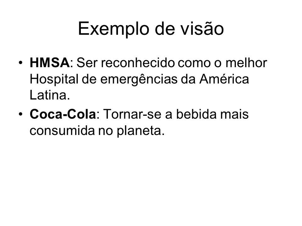 Exemplo de visão HMSA: Ser reconhecido como o melhor Hospital de emergências da América Latina.