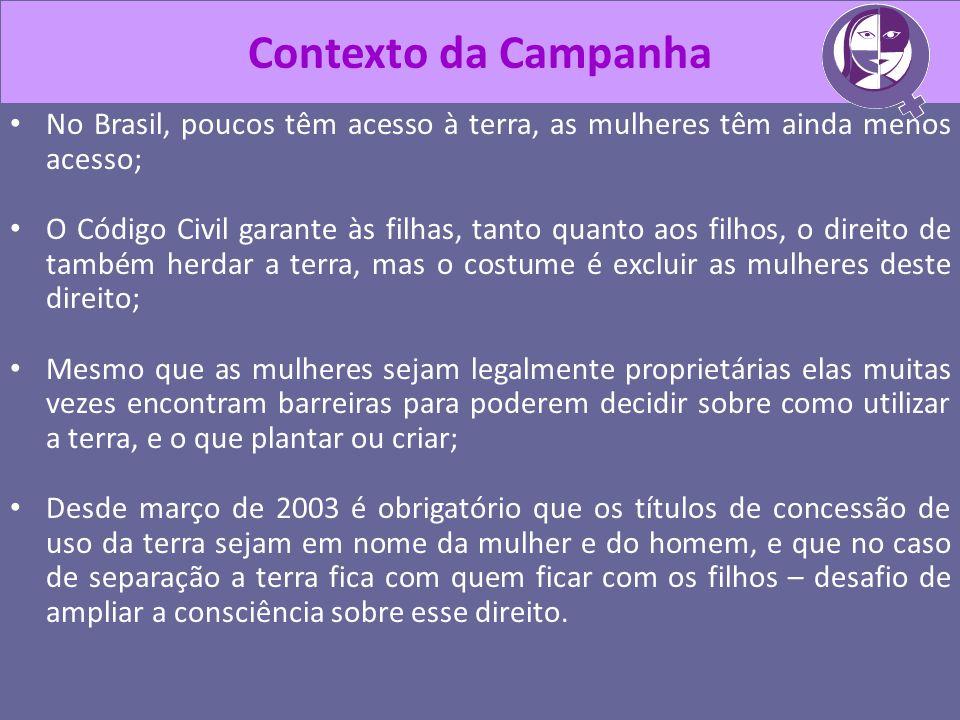 Contexto da Campanha No Brasil, poucos têm acesso à terra, as mulheres têm ainda menos acesso;