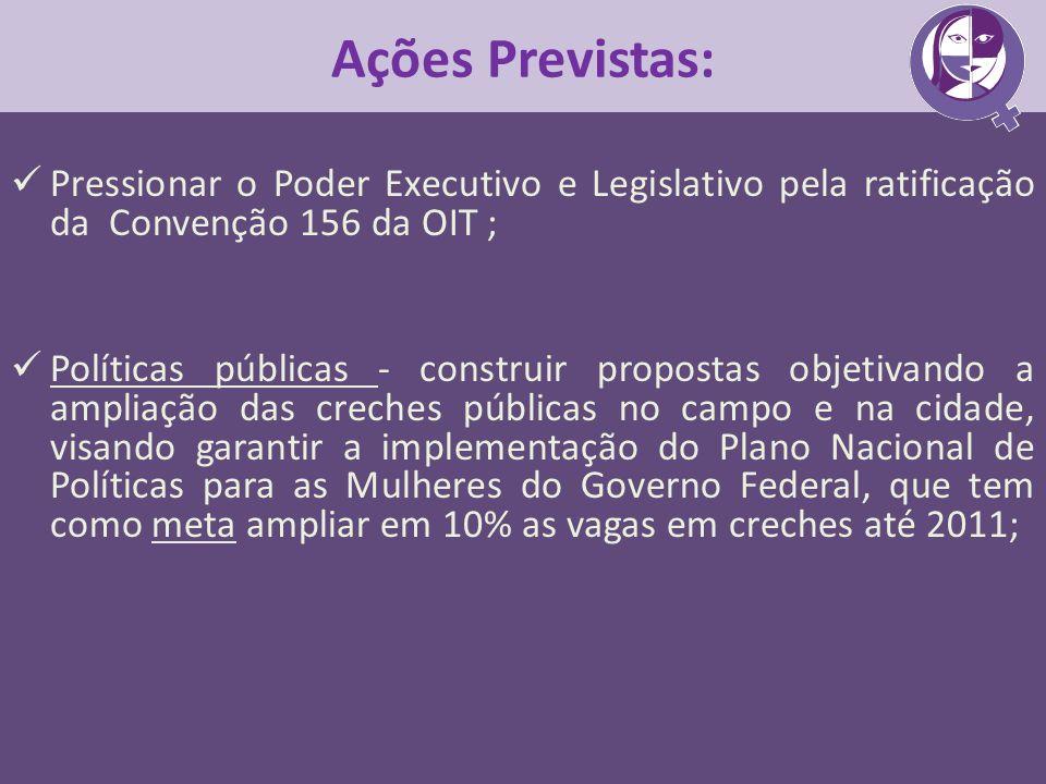 Ações Previstas:Pressionar o Poder Executivo e Legislativo pela ratificação da Convenção 156 da OIT ;