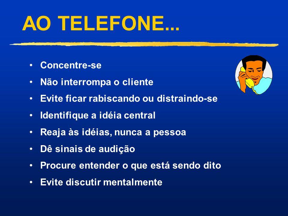 AO TELEFONE... Concentre-se Não interrompa o cliente