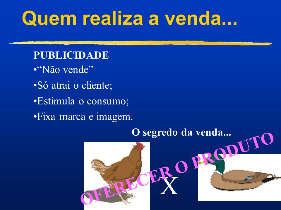 X Quem realiza a venda... OFERECER O PRODUTO PUBLICIDADE Não vende