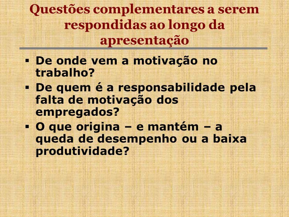 Questões complementares a serem respondidas ao longo da apresentação