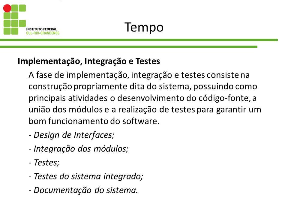 Tempo Implementação, Integração e Testes