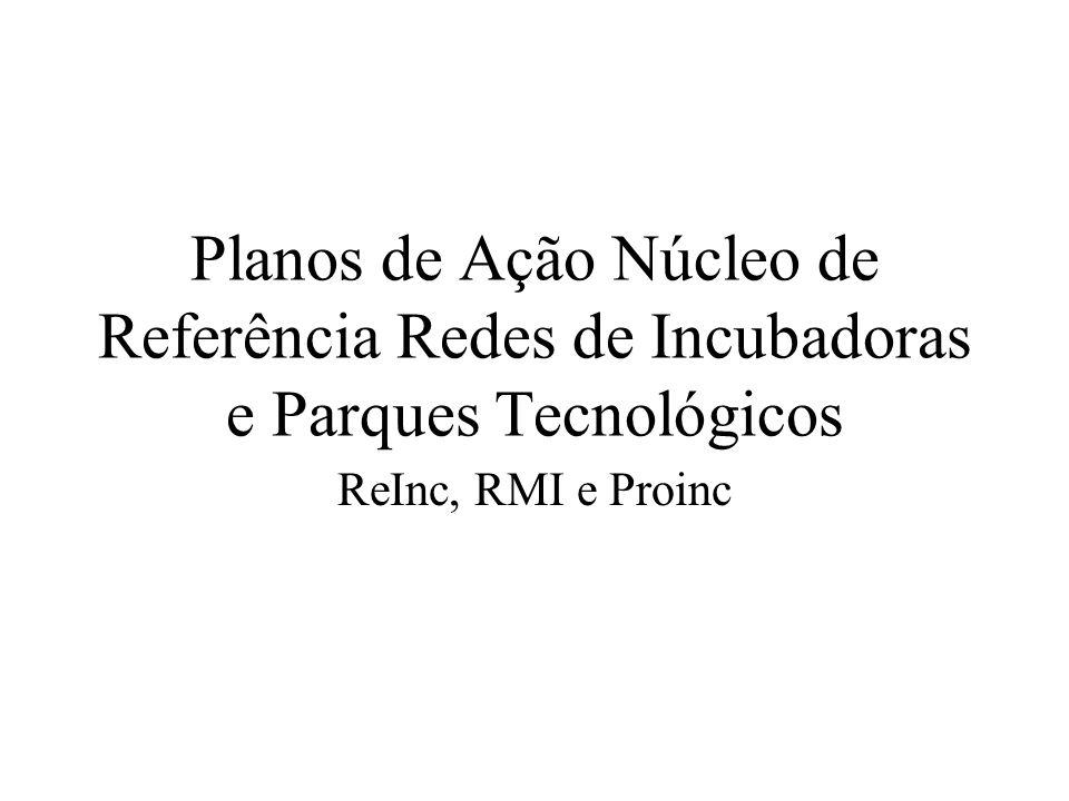 Planos de Ação Núcleo de Referência Redes de Incubadoras e Parques Tecnológicos