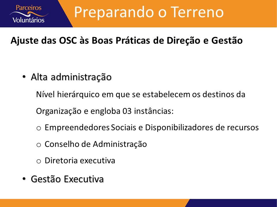 Preparando o TerrenoAjuste das OSC às Boas Práticas de Direção e Gestão. Alta administração. Nível hierárquico em que se estabelecem os destinos da.