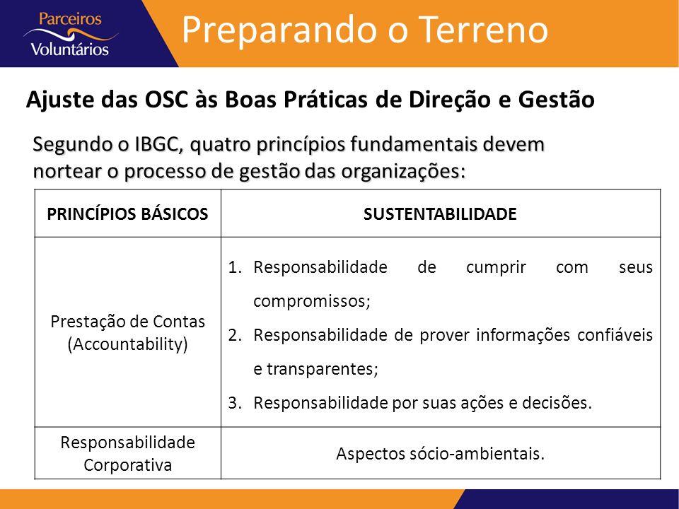 Preparando o Terreno Ajuste das OSC às Boas Práticas de Direção e Gestão.