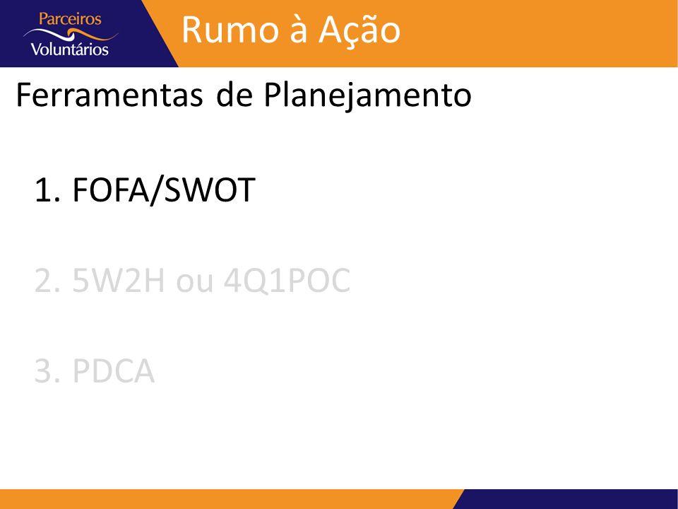 Rumo à Ação Ferramentas de Planejamento FOFA/SWOT 5W2H ou 4Q1POC PDCA