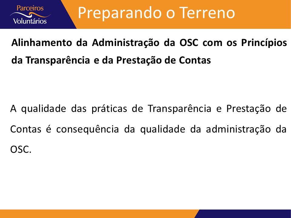 Preparando o Terreno Alinhamento da Administração da OSC com os Princípios da Transparência e da Prestação de Contas.