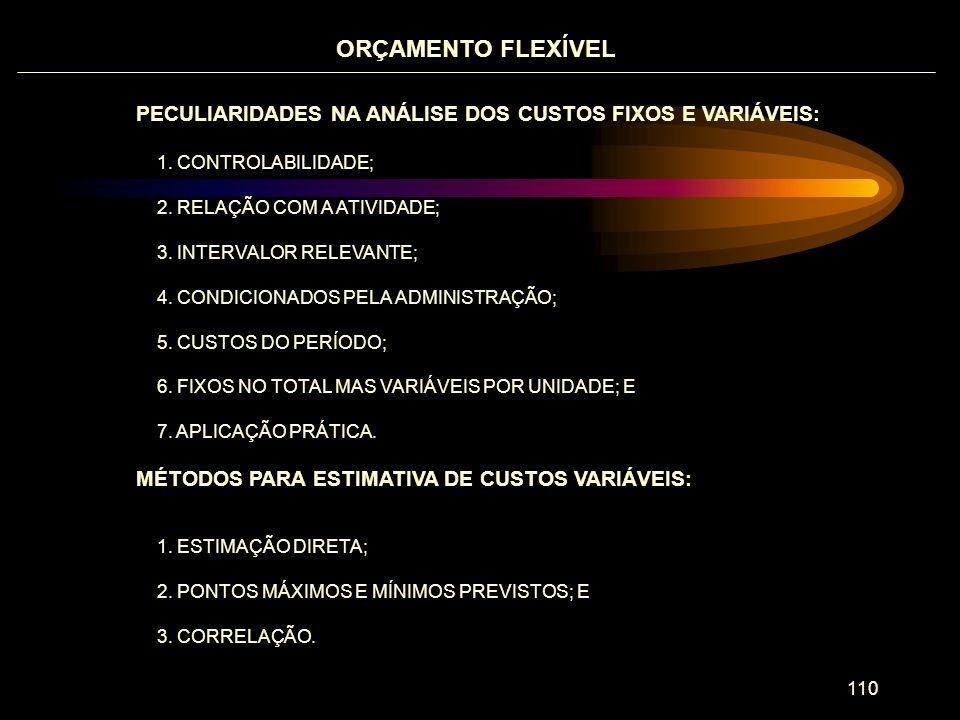 ORÇAMENTO FLEXÍVEL PECULIARIDADES NA ANÁLISE DOS CUSTOS FIXOS E VARIÁVEIS: 1. CONTROLABILIDADE; 2. RELAÇÃO COM A ATIVIDADE;