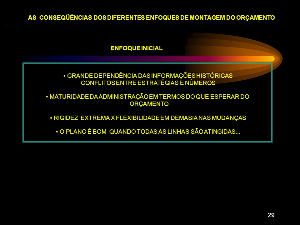 AS CONSEQÜÊNCIAS DOS DIFERENTES ENFOQUES DE MONTAGEM DO ORÇAMENTO