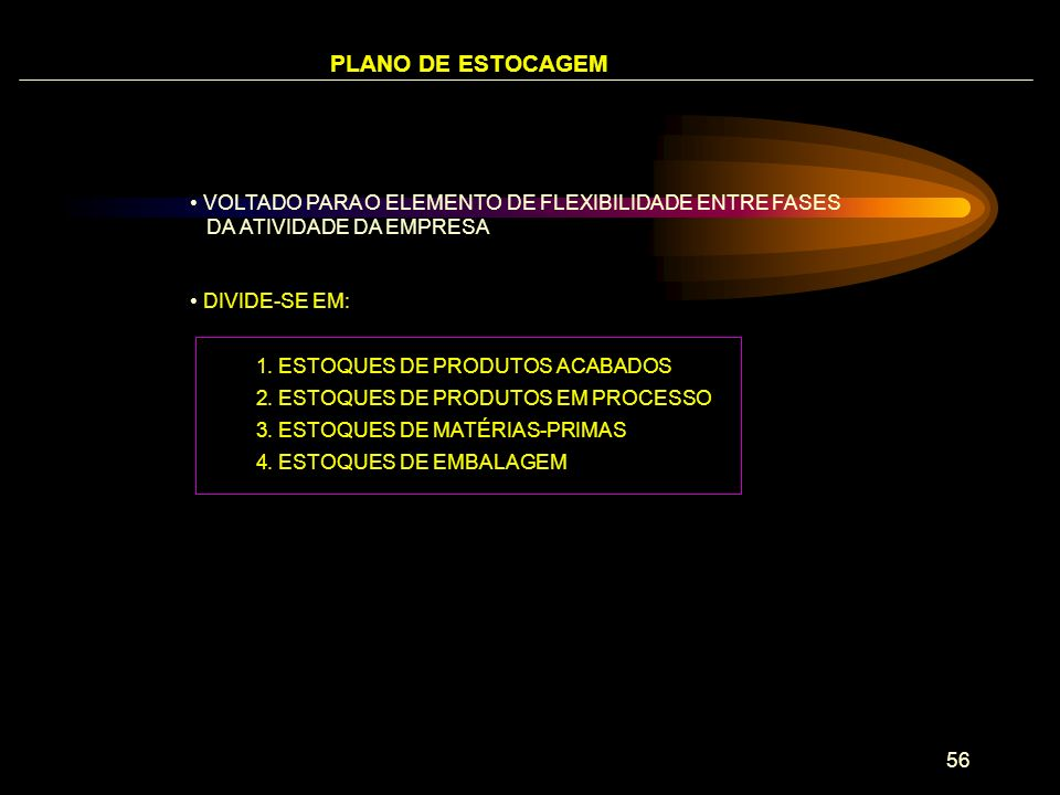 PLANO DE ESTOCAGEM VOLTADO PARA O ELEMENTO DE FLEXIBILIDADE ENTRE FASES DA ATIVIDADE DA EMPRESA.