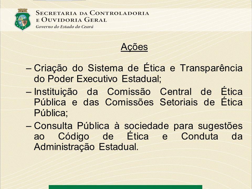 AçõesCriação do Sistema de Ética e Transparência do Poder Executivo Estadual;
