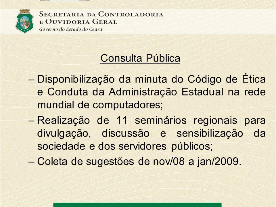 Consulta PúblicaDisponibilização da minuta do Código de Ética e Conduta da Administração Estadual na rede mundial de computadores;