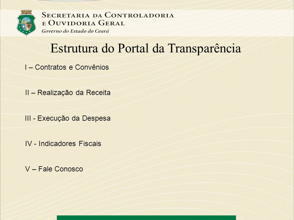Estrutura do Portal da Transparência