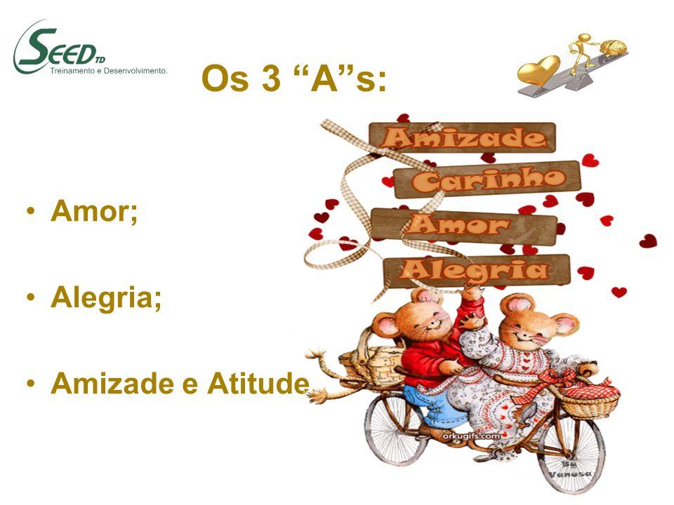 Os 3 A s: Amor; Alegria; Amizade e Atitude.