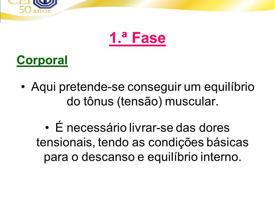 Aqui pretende-se conseguir um equilíbrio do tônus (tensão) muscular.