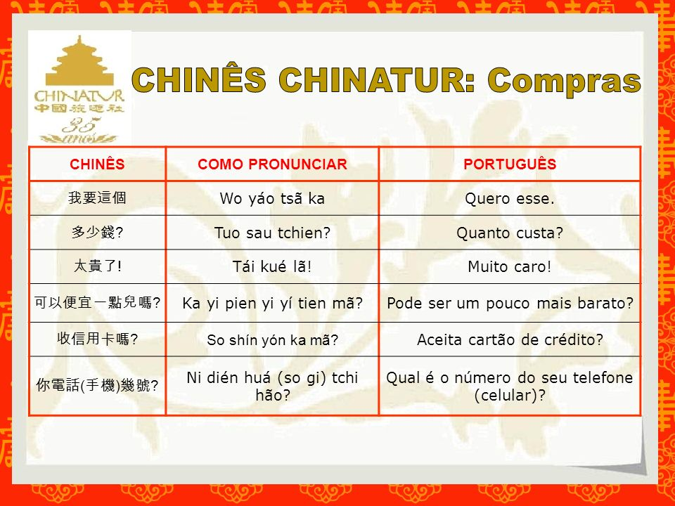 CHINÊS CHINATUR: Compras
