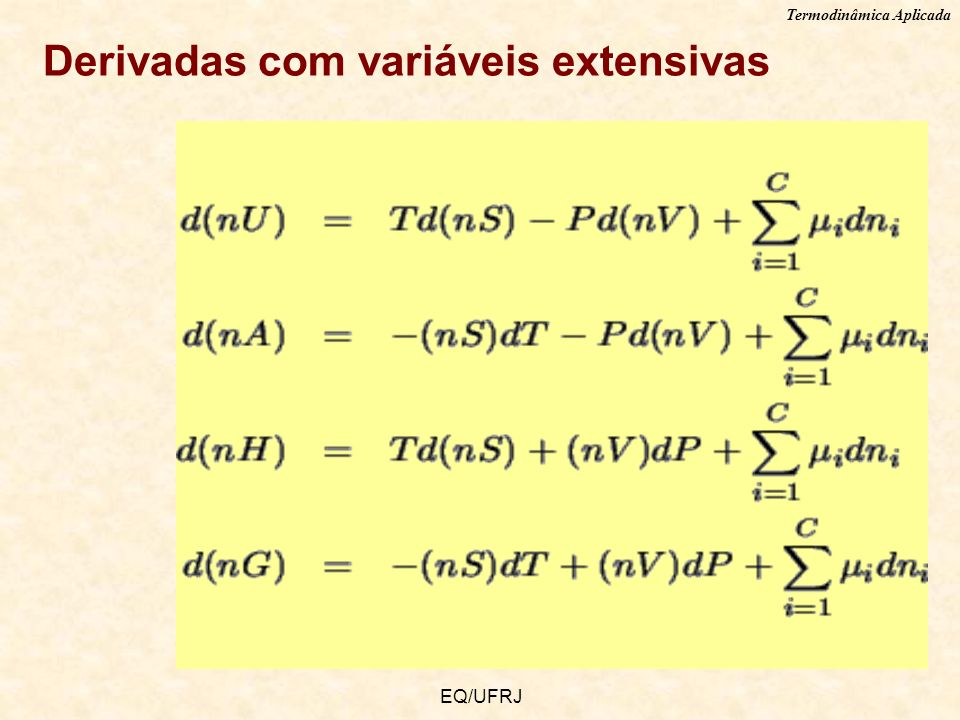 Derivadas com variáveis extensivas